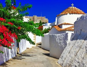 Historical and significant local landmarks on the island of Patmos in the Dodecanese.